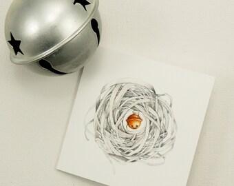 jingle bell nest gift enclosure metallic silver card set
