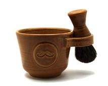 Wet Shaving Set for Men, Brown Mustache Shave Mug, Black Badger Hair Brush, Natural Soap, Handmade Pottery Anniversary Gift - Ready to Ship