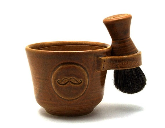 Shaving Set for Men, Brown Mustache Shave Mug, Black Badger Hair Brush, Natural Soap, Moustache Pottery Anniversary Gift Ready to Ship