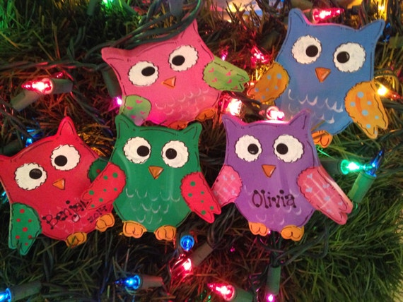 Colorful kids owl ornaments