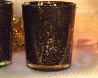 1 per/ Mercury Glass Votive Candle Holder for Weddings and Parties, Black Mercury or Silver or Gold Mercury Style