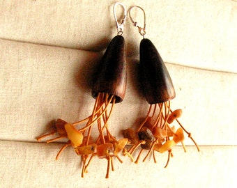 Hand made dangling earrings wood sterling silver twine and natural amber long rustic boho