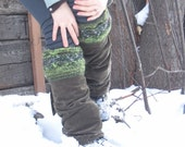Quilted Thick Knit Leg Warmers in Olive READY to SHIP