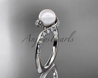 14kt white gold diamond pearl engagement ring ap277 - Pearl Wedding Ring