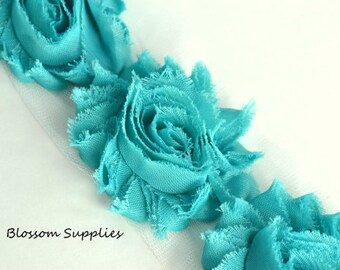 1/2 or 1 YARD Increment - TURQUOISE - Shabby Chiffon Flower Rose Trim - Headband Flowers