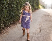 Steel Orchid, Lavender Flower Girls Dress with Blush Pink Sash Ready to Ship SALE Sizes 12 mos, 4T, 5