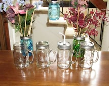 Ball Mason Jar 16oz Pint Drinking Glass Mug with Handle - Tumbler, Sipper, To Go Cup - Your Choice!