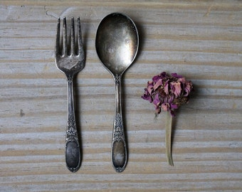 Vintage silverplate small spoon fork set / baby memorabilia / rustic decor / collectible / silver with patina / Victorian style home decor