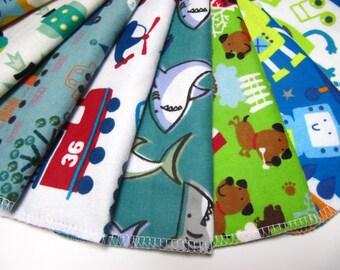 Reusable Cloth Wipes, 10 Boys Mixed Prints, Cloth Wipes, Cloth Diaper Wipes