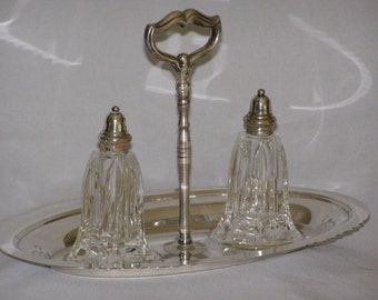 Onieda Silversmiths Salt & Pepper Set Cut Glass Shakers Mid Century Silver-plate with scrolled handle
