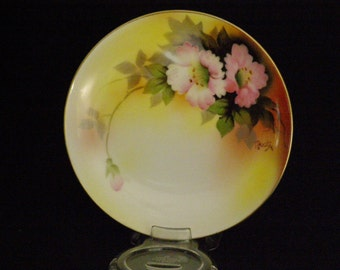 """Vintage Noritaki Display Dish 6.25"""" Beautiful Hand Painted Rose Pattern Signed by Artist Made in Japan Circa 1920-1940s"""
