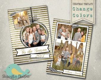 Christmas Card PHOTOSHOP TEMPLATE - Gold Family Christmas Card 115