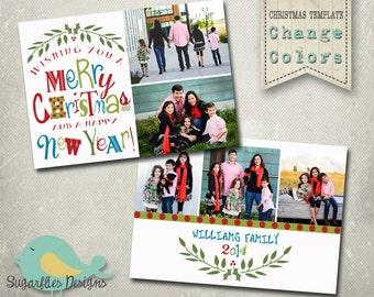 Christmas Card Template PHOTOSHOP TEMPLATE - Family Christmas Card 126