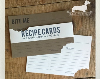 Bite Me. A Baker's Dozen (Qty 13) Set of Recipe Cards -- (3x5, 4x6, Funny, Gift Under 15, Geeky, Humorous, Teeth, Hungry, Fun, Dentist Gift)