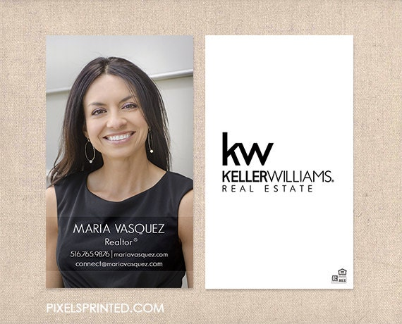 Kw realtor business cards thick color both sides by for Modern homes estate agents