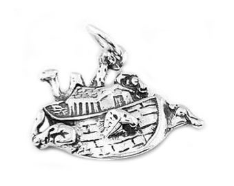 Sterling Silver Noah's Ark with Animals Charm (Flat Back Charm)