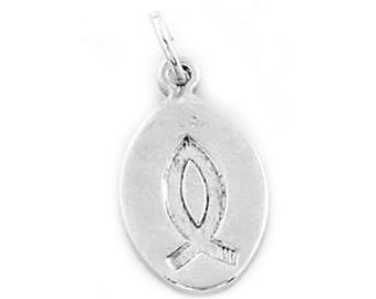 Sterling Silver Christian Fish Oval Disc Charm (One Sided charm)