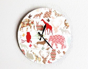 Nursery Wall Clock, Animal Clock,New Baby Gift, Decor and Housewares, Home and Living, Home Decor,