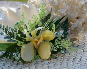 Yellow Real Touch Orchid Corsage Boutonniere