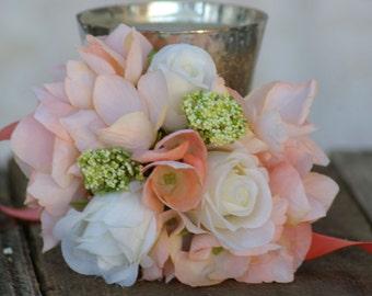 Peach Garden Rose Boutonniere coral peach corsage | etsy