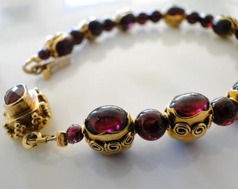 Exquisite red pomegranate, garnet, gold handmade bracelet, OOAK