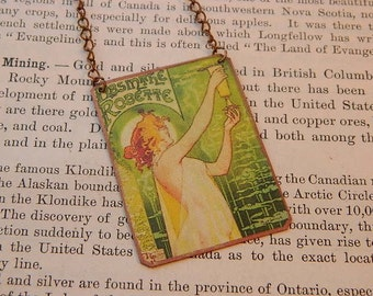 Mucha necklace Absinthe mixed media jewelry art jewelry art necklace