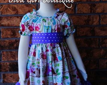 Christmas Dress - Girls Boutique Dress - Outfit of Choice - Pageant Dress - Owl Dress - 3m 6m 9m 12m 18m 24m 2T 3T 4T 5 6 7 8