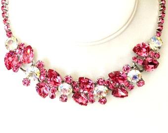 Juliana Delizza Elster Huge Fuchsia Pink White AB Rhinestone Necklace