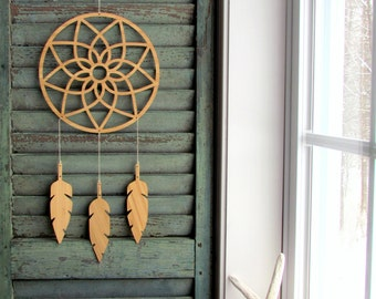large dream catcher Mobile - feather mobile - modern mobile - bamboo - vegan - gender neutral - bamboo - wingedwhimsy