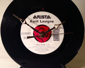 "Recycled AVRIL LAVIGNE 7"" Record / Don't Tell Me / Record Clock"