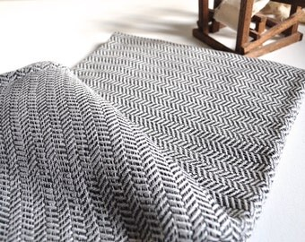 Vermicelli Pattern Turkish Towel Peshtemal towel in ivory Dark Grey Bamboo Hand Loomed pure soft