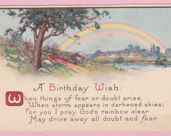 Ca. 1920s Sm. Birthday Greeting Postcard w/ Rainbow Scene - 927