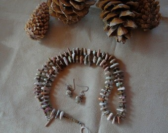 25 Inch Tan and Cream Ocean Jasper Freeform Disk Healing Necklace and Earrings