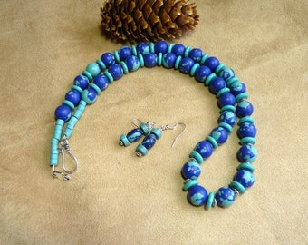 24 Inch Chunky Royal and Turquoise Stone Bead Necklace with Earrings