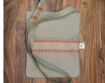 Hipster Bga, Crossbody Purse, Sling Bag, Fabric Shoulder Bag, Tan
