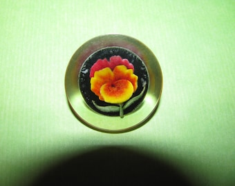 Vintage Clear Lucite Reverse Carved Orange Green Pansy Brooch Pin