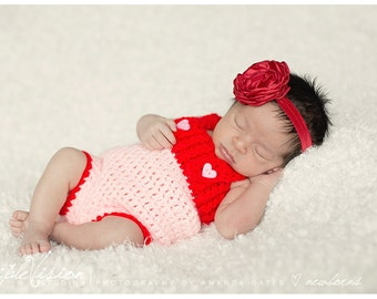 Newborn Pink and Red With Heart Button Romper Girls Photo Prop