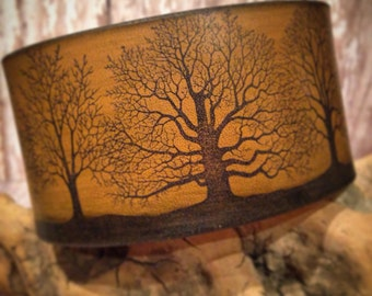 Brown Rustic Leather Cuff, Winter Trees, Woodland Cuff