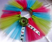 Toddler Girls Size 3T Fucshia Blue Green Tutu Skirt w/ Satin Flower and Disney Monsters Inc. Boo Ribbon