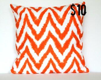 Orange Modern Chevron Pillow Cover - 18 x 18 Decorative Pillow Cover