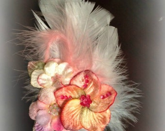 Beautiful Velvet Pressed Flower and Feather Fascinator Hair Clip