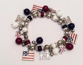 CHRISTMAS Holiday Sale, USA Stretch Charm Bracelet Retro Vintage Jewelry, Gift for Her