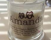 Custom Candle jar candle birthday gift Bridesmaid Gift custom candle custom name or text