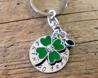 Lucky Shamrock Clover Keychain, Erin Go Bragh, Customized with your lucky saying, Emerald Swarovski Crystal, ID Tag, Luggage Tag, Pet Tag