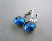 Navy Blue Earrings - Montana Prussian Nautical Blue - Silver Plated Leverback