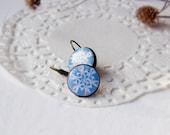 blue snowflake earring - blue earring
