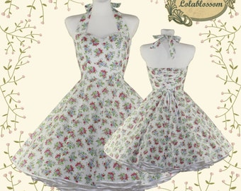 50's vintage dress Tailor Made wedding roses dress eco friendly cotton