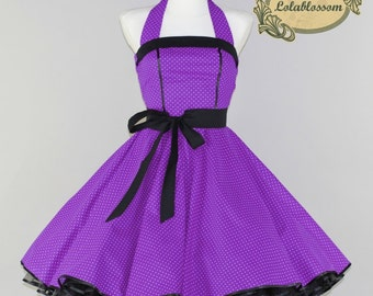 50's vintage petticoat dress in purple with baby white polka dots and black embellishments