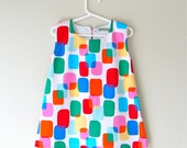 Baby toddler girls dress summer A line pinafore jumper  dress retro 60s mod squares dress
