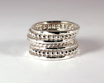 Mixed Stacking Set, 7 Rings, Sterling Silver, Made to Order